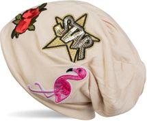 styleBREAKER Beanie Mütze mit Patches, Flamingo, Rosen, Star Stern Pailletten Patch, Slouch Longbeanie, Unisex 04024114 – Bild 6