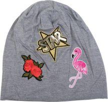 styleBREAKER Beanie Mütze mit Patches, Flamingo, Rosen, Star Stern Pailletten Patch, Slouch Longbeanie, Unisex 04024114 – Bild 18