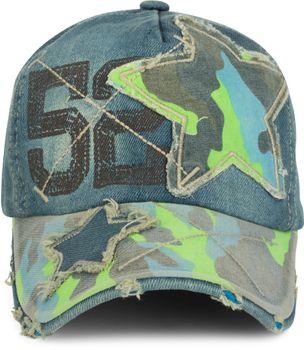 styleBREAKER 6-Panel Vintage Jeans Cap mit Camouflage Stern und aufgedruckter Nummer 52, Used Look, Baseball Cap, verstellbar, Unisex 04023053 – Bild 6