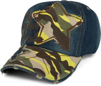 styleBREAKER 6-Panel Vintage Jeans Cap mit Camouflage Stern und aufgedruckter Nummer 52, Used Look, Baseball Cap, verstellbar, Unisex 04023053 – Bild 4