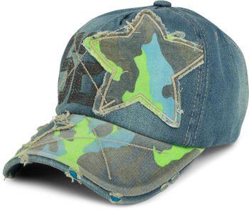styleBREAKER 6-Panel Vintage Jeans Cap mit Camouflage Stern und aufgedruckter Nummer 52, Used Look, Baseball Cap, verstellbar, Unisex 04023053 – Bild 1