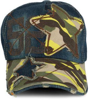 styleBREAKER 6-Panel Vintage Jeans Cap mit Camouflage Stern und aufgedruckter Nummer 52, Used Look, Baseball Cap, verstellbar, Unisex 04023053 – Bild 8
