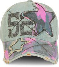 styleBREAKER 6-Panel Vintage Jeans Cap mit Camouflage Stern und aufgedruckter Nummer 52, Used Look, Baseball Cap, verstellbar, Unisex 04023053 – Bild 5