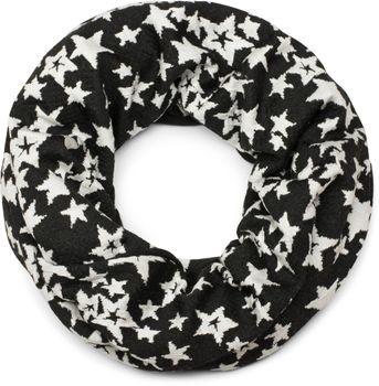 styleBREAKER Loop Schal mit All Over Vintage Sterne, Feinstrick Schlauchschal, Tuch, Unisex 01016144 – Bild 1