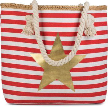 styleBREAKER Strandtasche mit maritimen Streifen Muster, Stern Print und Reißverschluss, Schultertasche, Shopper, Damen 02012169 – Bild 9