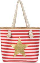 styleBREAKER Strandtasche mit maritimen Streifen Muster, Stern Print und Reißverschluss, Schultertasche, Shopper, Damen 02012169 – Bild 3