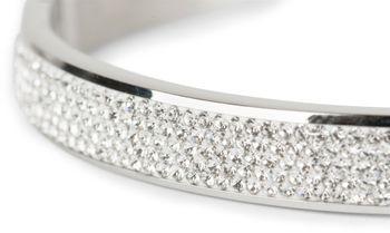 styleBREAKER Armreif aus Edelstahl mit Strasssteinen, Clipverschluss Armband, Schmuck, Damen 05040101 – Bild 6
