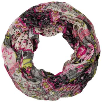 styleBREAKER loop tube scarf with allover floral pattern mix, crash and crinkle, paisley, points, flowers, roses 01014008 – Bild 1