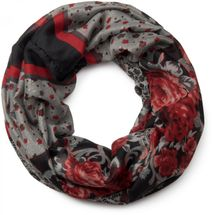 styleBREAKER loop tube scarf with allover floral pattern mix, crash and crinkle, paisley, points, flowers, roses 01014008 – Bild 23