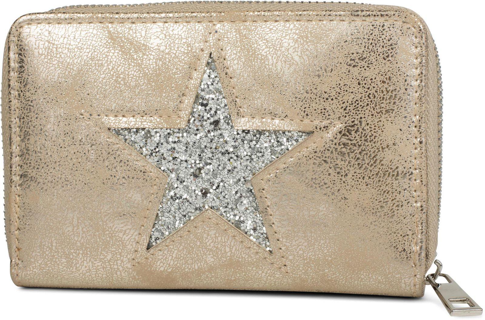 Reißverschluss Metallic oder Pailletten Geldbörse Stern Damen Portemonnaie