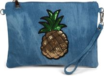 styleBREAKER Jeans Clutch mit glitzer Pailletten Ananas, Schulterriemen und Handschlaufe, Tasche, Damen 02012176 – Bild 1