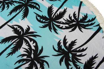 styleBREAKER rundes Strandtuch mit Palmen Print und Fransen, Tuch, Badetuch, Pareo, Unisex 05050041 – Bild 2