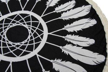 styleBREAKER rundes Strandtuch mit Traumfänger und Feder Print, Fransen Tuch, Badetuch, Pareo, Unisex 05050042 – Bild 7