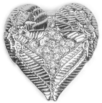 styleBREAKER Magnet Schmuck Anhänger Herz Flügel Design mit Strass für Kleidung, Schals, Tücher oder Ponchos, Brosche, Damen 05050044 – Bild 1