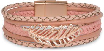 styleBREAKER Armband mit Feder Schmuck Element, Flechtoptik, geflochten, Magnetverschluss, Wickelarmband, Damen 05040106 – Bild 1