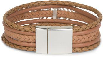 styleBREAKER Armband mit Feder Schmuck Element, Flechtoptik, geflochten, Magnetverschluss, Wickelarmband, Damen 05040106 – Bild 11
