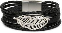 styleBREAKER Armband mit Feder Schmuck Element, Flechtoptik, geflochten, Magnetverschluss, Wickelarmband, Damen 05040106 – Bild 4