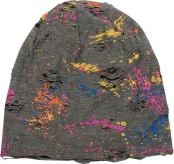 styleBREAKER Beanie Mütze mit Splat Style Farbklecks Muster im Used Look Vintage Design, Slouch Longbeanie, Unisex 04024118 – Bild 8