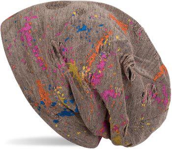 styleBREAKER Beanie Mütze mit Splat Style Farbklecks Muster im Used Look Vintage Design, Slouch Longbeanie, Unisex 04024118 – Bild 5