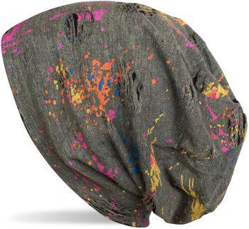 styleBREAKER Beanie Mütze mit Splat Style Farbklecks Muster im Used Look Vintage Design, Slouch Longbeanie, Unisex 04024118 – Bild 4