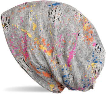styleBREAKER Beanie Mütze mit Splat Style Farbklecks Muster im Used Look Vintage Design, Slouch Longbeanie, Unisex 04024118 – Bild 3