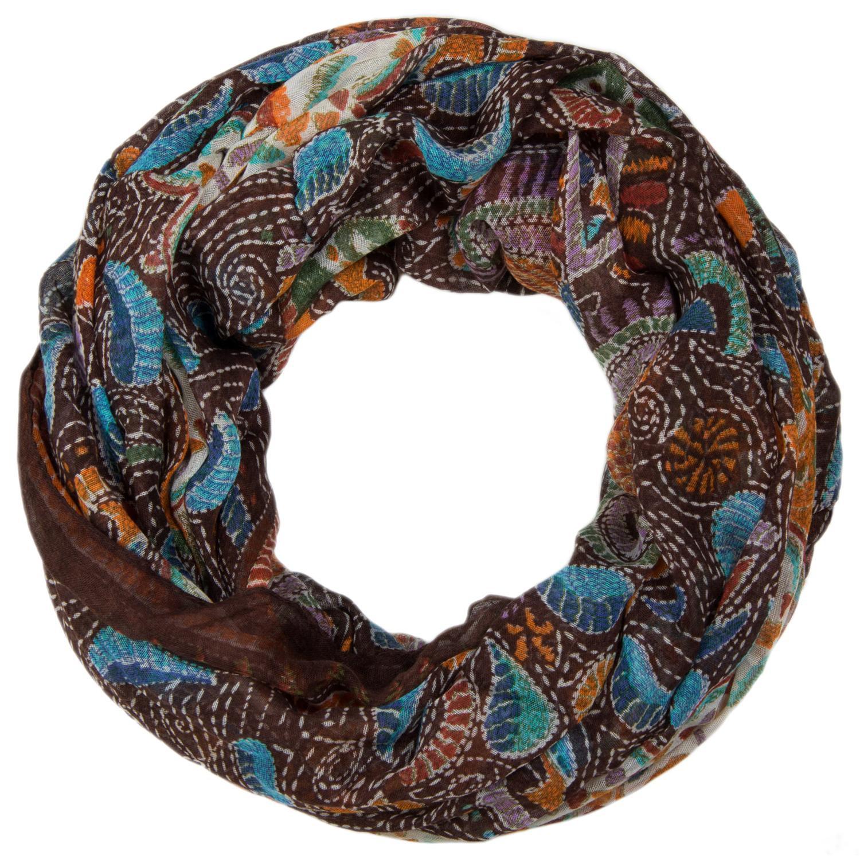 Damen Tuch Loop Schlauchschal mit Animal Print und Paisley Muster Schal