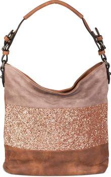 styleBREAKER edle 2-farbige Hobo Bag Handtasche mit Pailletten Streifen, Shopper, Schultertasche, Tasche, Damen 02012181 – Bild 4