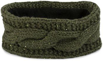 styleBREAKER Stirnband Grobstrick mit Zopfmuster und Pailletten, warmes Fleece Innenfutter, Haarband, Headband, Damen 04026002 – Bild 6