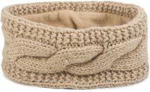 styleBREAKER Damen Stirnband Grobstrick mit Zopfmuster und Pailletten, warmes Fleece Innenfutter, Haarband, Headband 04026002 – Bild 2