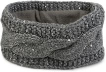 styleBREAKER Stirnband Grobstrick mit Zopfmuster und Pailletten, warmes Fleece Innenfutter, Haarband, Headband, Damen 04026002 – Bild 3