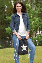 styleBREAKER Turnbeutel Hipster mit Glitzer Stern, Streetstyle Rucksack, Sportbeutel, Beutel, Unisex 02012195 – Bild 11