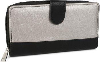 styleBREAKER Geldbörse im 2-Tone Metallic Look und Druckknopfverschluss, umlaufender Reißverschluss, Portemonnaie, Damen 02040082 – Bild 2