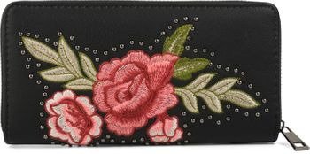 styleBREAKER Geldbörse mit Rosen Blüten Blätter und Nieten, umlaufender Reißverschluss, Portemonnaie, Damen 02040086 – Bild 3