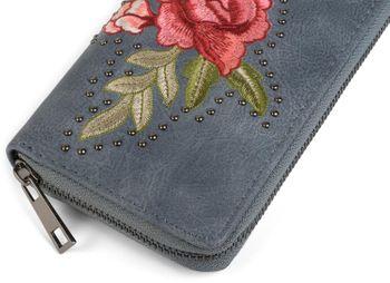 styleBREAKER Geldbörse mit Rosen Blüten Blätter und Nieten, umlaufender Reißverschluss, Portemonnaie, Damen 02040086 – Bild 9
