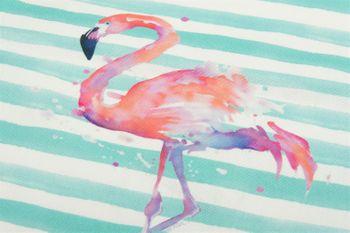styleBREAKER Stofftasche mit Streifen und Flamingo Aufdruck, Druckknopf Verschluss, Tragetasche, Maritime Einkaufstasche, Tasche, Unisex 02012192 – Bild 2