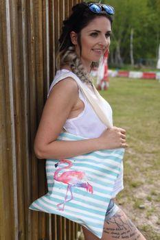 styleBREAKER Stofftasche mit Streifen und Flamingo Aufdruck, Druckknopf Verschluss, Tragetasche, Maritime Einkaufstasche, Tasche, Unisex 02012192 – Bild 4