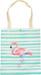 styleBREAKER Stofftasche mit Streifen und Flamingo Aufdruck, Druckknopf Verschluss, Tragetasche, Maritime Einkaufstasche, Tasche, Unisex 02012192