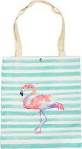 styleBREAKER Stofftasche mit Streifen und Flamingo Aufdruck, Druckknopf Verschluss, Tragetasche, Maritime Einkaufstasche, Tasche, Unisex 02012192 – Bild 1