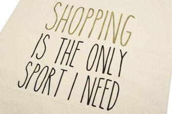 styleBREAKER Statement Einkaufstasche 'SHOPPING IS THE ONLY SPORT I NEED' Aufdruck, Tragetasche, Stofftasche, Tasche, Unisex 02012204 – Bild 2