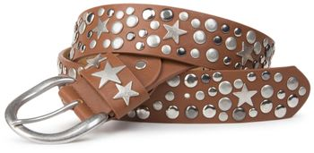 styleBREAKER studded belt with stars in vintage style with genuine leather, shortened 03010010 – Bild 8