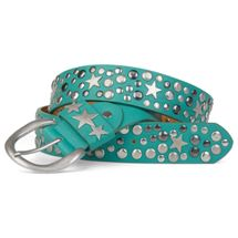 styleBREAKER studded belt with stars in vintage style with genuine leather, shortened 03010010 – Bild 2
