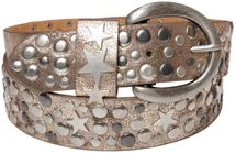 styleBREAKER studded belt with stars in vintage style with genuine leather, shortened 03010010 – Bild 15