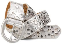 styleBREAKER studded belt with stars in vintage style with genuine leather, shortened 03010010 – Bild 1