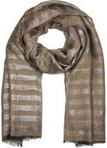 styleBREAKER Schal mit Streifen Punkte Muster und Metallic Fäden, Fransen, Tuch, Damen 01017065 – Bild 6