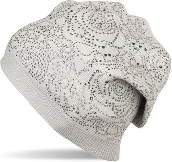 styleBREAKER Feinstrick Beanie Mütze mit Strasssteine im Rosen Blüten Muster, Strickmütze mit Strass, Damen 04024124 – Bild 1