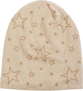 styleBREAKER warme Feinstrick Beanie Mütze mit glitzerndem Metallic Sterne Print, Fleece Innenfutter, Slouch Longbeanie, Damen 04024125 – Bild 11