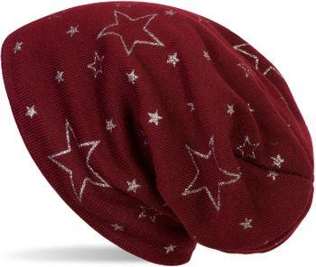 styleBREAKER warme Feinstrick Beanie Mütze mit glitzerndem Metallic Sterne Print, Fleece Innenfutter, Slouch Longbeanie, Damen 04024125 – Bild 8