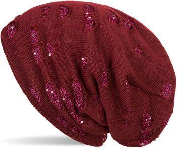 styleBREAKER warme Feinstrick Beanie Mütze im Destroyed Pailletten Look und weichem Fleece Innenfutter, Slouch Longbeanie, Damen 04024127 – Bild 4