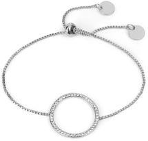 styleBREAKER Slider Armband mit Strass besetztem Ring, Venezianerkette, Schiebeverschluss, Schmuck, Damen 05040117 – Bild 2