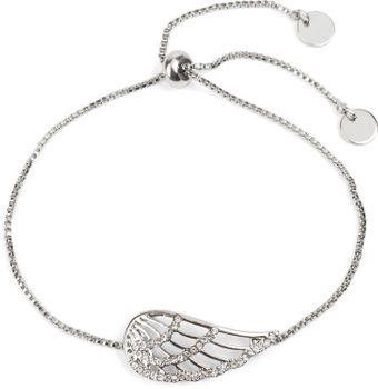 styleBREAKER Slider Armband mit Strass besetztem Flügel Anhänger, Venezianerkette, Schmuck, Damen 05040118 – Bild 2